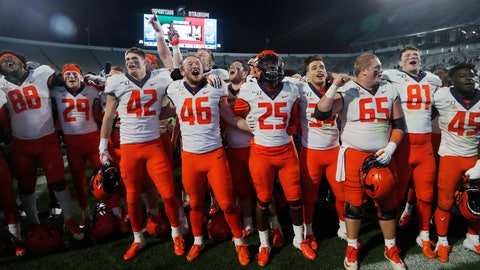 <p>               Members of the Illinois football team sing at the end of the team's NCAA college football game against Michigan State, Saturday, Nov. 9, 2019, in East Lansing, Mich. (AP Photo/Carlos Osorio)             </p>