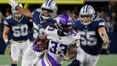 <p>               Minnesota Vikings running back Dalvin Cook (33) runs the ball as Dallas Cowboys' Robert Quinn (58) and Leighton Vander Esch (55) give chase during the first half of an NFL football game in Arlington, Texas, Sunday, Nov. 10, 2019. (AP Photo/Michael Ainsworth)             </p>