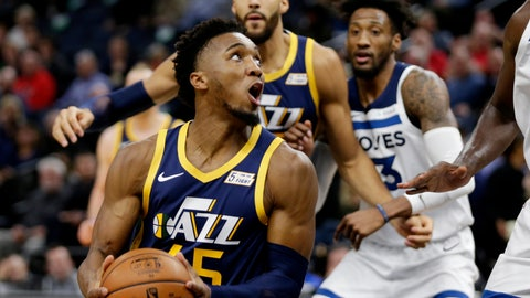 <p>               Utah Jazz guard Donovan Mitchell (45) drives on the Minnesota Timberwolves with Utah Jazz center Rudy Gobert and Minnesota Timberwolves forward Robert Covington behind the play during the first quarter of an NBA basketball game Wednesday, Nov. 20, 2019 in Minneapolis. (AP Photo/Andy Clayton-King)             </p>
