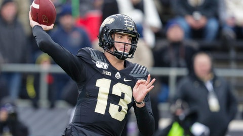 <p>               Purdue quarterback Jack Plummer (13) throws against Nebraska during the first half of an NCAA college football game in West Lafayette, Ind., Saturday, Nov. 2, 2019. (AP Photo/Michael Conroy)             </p>