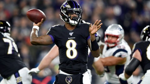 <p>               Baltimore Ravens quarterback Lamar Jackson throws a pass against the New England Patriots during the first half of an NFL football game, Sunday, Nov. 3, 2019, in Baltimore. (AP Photo/Gail Burton)             </p>