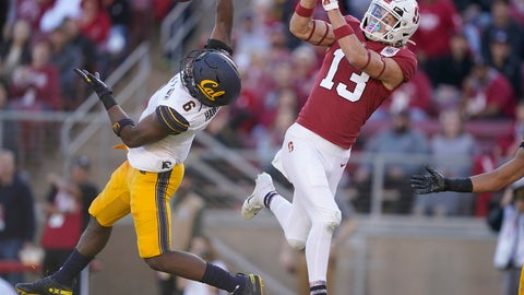 <p>               California safety Jaylinn Hawkins (6) intercepts a pass for Stanford wide receiver Simi Fehoko (13) during the second half of an NCAA college football game Saturday, Nov. 23, 2019 in Stanford, Calif. (AP Photo/Tony Avelar)             </p>
