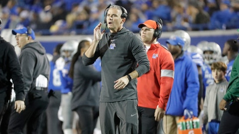 <p>               Memphis head coach Mike Norvell watches from the sideline in the first half of an NCAA college football game against SMU Saturday, Nov. 2, 2019, in Memphis, Tenn. (AP Photo/Mark Humphrey)             </p>