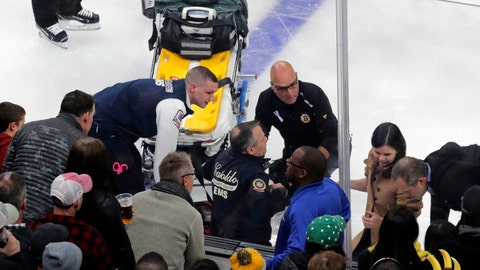 <p>               Medical workers attend to Ottawa Senators right wing Scott Sabourin, who was injured on a play with Boston Bruins right wing David Backes, during the first period of an NHL hockey game in Boston, Saturday, Nov. 2, 2019. (AP Photo/Charles Krupa)             </p>