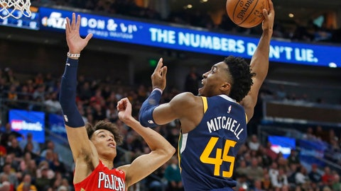 <p>               Utah Jazz guard Donovan Mitchell (45) goes to the basket as New Orleans Pelicans center Jaxson Hayes (10) defends during the second half during an NBA basketball game Saturday, Nov. 23, 2019, in Salt Lake City. (AP Photo/Rick Bowmer)             </p>