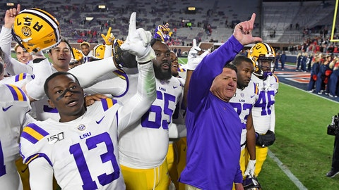 <p>               LSU coach Ed Orgeron and players celebrate after an NCAA college football game against Mississippi in Oxford, Miss., Saturday, Nov. 16, 2019. No. 1 LSU won 58-37. (AP Photo/Thomas Graning)             </p>