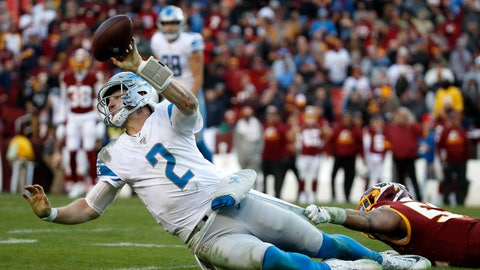 <p>               Detroit Lions quarterback Jeff Driskel (2) tries to throw a pass while being hit by Washington Redskins linebacker Ryan Anderson during the second half of an NFL football game, Sunday, Nov. 24, 2019, in Landover, Md. The Redskins won 19-16. (AP Photo/Alex Brandon)             </p>