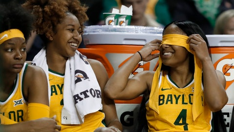 <p>               Baylor's DiDi Richards, left, smiles as she and Te'a Cooper (4) joke on the bench late in the second half of the team's NCAA college basketball game against Houston Baptist in Waco, Texas, Thursday, Nov. 14, 2019. (AP Photo/Tony Gutierrez)             </p>
