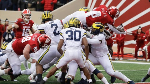 <p>               Indiana running back Stevie Scott III (8) goes in for a touchdown during the first half of an NCAA college football game against Michigan, Saturday, Nov. 23, 2019, in Bloomington, Ind. (AP Photo/Darron Cummings)             </p>