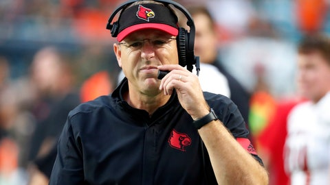 <p>               Louisville head coach Scott Satterfield grimaces as he walks the sideline during the first half of an NCAA college football game against Miami, Saturday, Nov. 9, 2019, in Miami Gardens, Fla. (AP Photo/Wilfredo Lee)             </p>