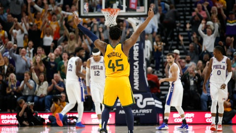 <p>               Utah Jazz guard Donovan Mitchell (45) celebrates after a teammate scored against the Philadelphia 76ers during the second half during an NBA basketball game Wednesday, Nov. 6, 2019, in Salt Lake City. (AP Photo/Rick Bowmer)             </p>