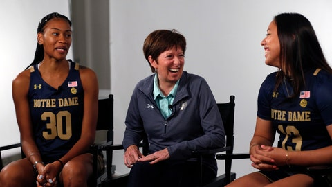 <p>               FILE - In this Oct. 3, 2019, file photo, Notre Dame coach Muffet McGraw, center, laughs with players Mikayla Vaughn, left, and Marta Sniezek during the Atlantic Coast Conference women's NCAA college basketball media day in Charlotte, N.C. McGraw faces a big rebuilding project after two runs to the NCAA championship game, including a win two seasons ago. (AP Photo/Nell Redmond, File)             </p>