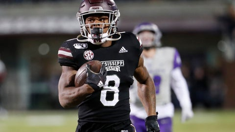 <p>               Mississippi State running back Kylin Hill (8) runs past Abilene Christian players on his way to an 88-yard touchdown pass reception during the first half of an NCAA college football game, Saturday, Nov. 23, 2019, in Starkville, Miss. (AP Photo/Rogelio V. Solis)             </p>