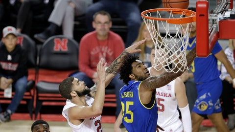 <p>               UC Riverside's George Willborn III (35) goes for a layup in front of Nebraska's Haanif Cheatham (22) during the first half of an NCAA college basketball game in Lincoln, Neb., Tuesday, Nov. 5, 2019. (AP Photo/Nati Harnik)             </p>