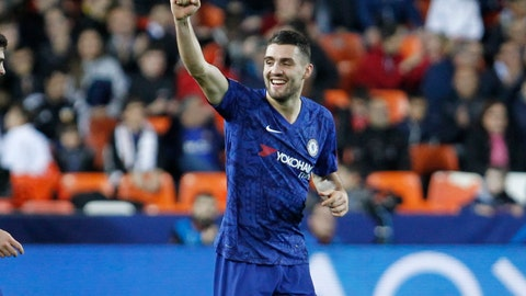 <p>               Chelsea's Mateo Kovacic celebrates after scoring the goal during the Champions League group H soccer match between Valencia and Chelsea at the Mestalla stadium in Valencia, Spain, Wednesday, Nov. 27, 2019. (AP Photo/Alberto Saiz)             </p>