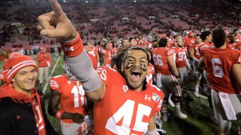 <p>               Utah wide receiver Samson Nacua (45) celebrates their victory over UCLA following their NCAA college football game Saturday, Nov. 16, 2019, in Salt Lake City. (AP Photo/Rick Bowmer)             </p>