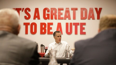 <p>               Utah Sen. Mitt Romney speaks with athletic directors from Utah colleges during a meeting at the University of Utah Friday, Nov. 15, 2019, in Salt Lake City. Romney says he supports efforts to allow college athletes to profit from their name and image because he wants to help poor students who may never become professional athletes. (AP Photo/Rick Bowmer)             </p>