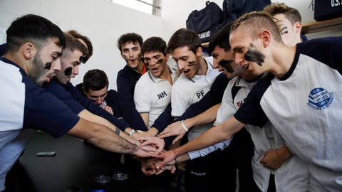 <p>               Desio players gather in the locker room with their faces painted with black marks as a symbolic sign against racism, prior to a youth team soccer match between Desio and Sovicese at the municipal stadium in Desio, near Milan, Italy, Saturday, Nov. 9, 2019. The initiative comes a week after a 10-year-old member of the Aurora Desio team was allegedly subjected to racist abuse during a match. (AP Photo/Luca Bruno)             </p>