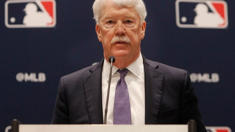 <p>               New Kansas City Royals owner John Sherman makes a brief statement to reporters after a baseball owners meeting in Arlington, Texas, Thursday, Nov. 21, 2019. (AP Photo/LM Otero)             </p>