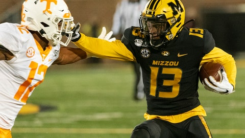 <p>               Missouri wide receiver Kam Scott, right, pushes past Tennessee defensive back Shawn Shamburger during the fourth quarter of an NCAA college football game, Saturday, Nov. 23, 2019, in Columbia, Mo. Tennessee won the game 24-20. (AP Photo/L.G. Patterson)             </p>