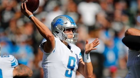 <p>               Detroit Lions quarterback Matthew Stafford (9) passes against the Oakland Raiders during the first half of an NFL football game in Oakland, Calif., Sunday, Nov. 3, 2019. (AP Photo/John Hefti)             </p>