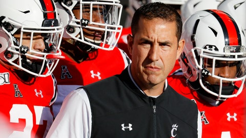 <p>               Cincinnati head coach Luke Fickell takes the field with his players before the first half of an NCAA college football game against Connecticut, Saturday, Nov. 9, 2019, in Cincinnati. (AP Photo/John Minchillo)             </p>