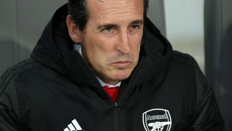 <p>               Arsenal's head coach Unai Emery sits on the bench during the Europa League group F soccer match between Vitoria SC and Arsenal at the D. Afonso Henriques stadium in Guimaraes, Portugal, Wednesday, Nov. 6, 2019. (AP Photo/Luis Vieira)             </p>