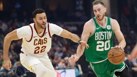 <p>               Boston Celtics' Gordon Hayward (20) drives past Cleveland Cavaliers' Larry Nance Jr. (22) in the first half of an NBA basketball game, Tuesday, Nov. 5, 2019, in Cleveland. (AP Photo/Tony Dejak)             </p>