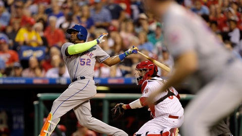 <p>               File-This Aug. 11, 2017, file photo shows New York Mets' Yoenis Cespedes, left, following through after hitting a three-run home run as Philadelphia Phillies catcher Jorge Alfaro, center, and third base coach Glenn Sherlock look on during the third inning of a baseball game, in Philadelphia. Cespedes is taking batting practice in his effort to return from a slew of lower-body injuries. Minor league instructor and former Mets player Endy Chavez posted and then deleted video of the 34-year-old Cespedes taking swings Tuesday, Nov. 19, 2019. (AP Photo/Matt Slocum, File)             </p>