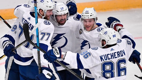 <p>               Tampa Bay Lightning's Victor Hedman (77). Alex Killorn (17) and Nikita Kucherov (86) celebrate after an NHL hockey game against the Buffalo Sabres in Globen Arena, Stockholm Sweden. Friday. Nov. 8, 2019. (Anders Wiklund/TT via AP)             </p>