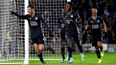 <p>               Leicester City's Jamie Vardy celebrates scoring his side's second goal of the game with a penalty,  during the English Premier League soccer match between Brighton and Hove and Leicester City, at the AMEX Stadium, in Brighton, England, Saturday, Nov. 23, 2019.  (Gareth Fuller/PA via AP)             </p>