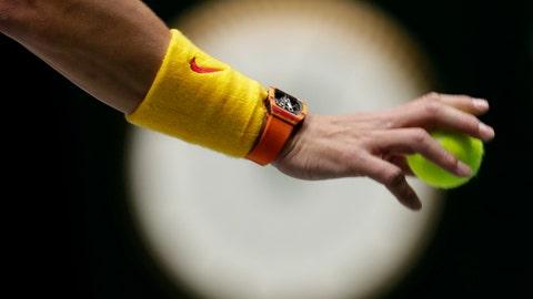 <p>               Spain's Rafael Nadal prepares to serve to Great Britain's Jamie Murray and Neal Skupski during their Davis Cup semifinal doubles match in Madrid, Spain, Saturday, Nov. 23, 2019. (AP Photo/Bernat Armangue)             </p>