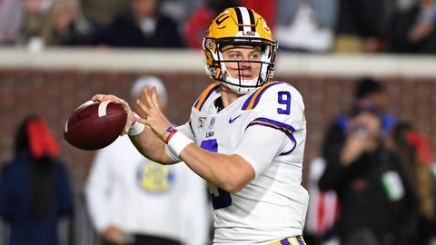 <p>               LSU quarterback Joe Burrow looks for a receiver during the first half of the team's NCAA college football game against Mississippi in Oxford, Miss., Saturday, Nov. 16, 2019. (AP Photo/Thomas Graning)             </p>