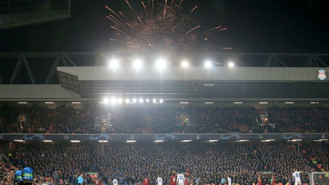 <p>               Guy Fawkes Night fireworks go off outside the stadium during the Champions League group E soccer match between Liverpool and Genk at Anfield Stadium, Liverpool, England, Tuesday, Nov. 5, 2019. (AP Photo/Jon Super)             </p>