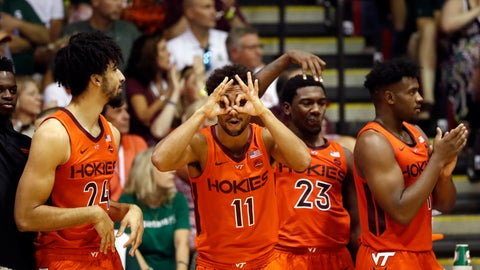 <p>               The Virginia Tech bench reacts to their team making a three-point basket against Michigan State during the second half of an NCAA college basketball game Monday, Nov. 25, 2019, in Lahaina, Hawaii. (AP Photo/Marco Garcia)             </p>
