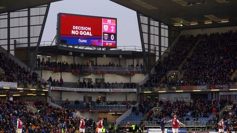 <p>               A general view of the big screen showing a VAR no goal decision after Burnley's Chris Wood scored his second goal of the match, during the English Premier League soccer match between Burnley and West Ham United, at Turf Moor, in Burnley, England,  Saturday, Nov.  9, 2019. (Ian Hodgson/PA via AP)             </p>