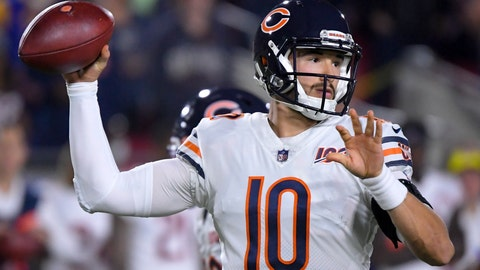 <p>               Chicago Bears quarterback Mitchell Trubisky passes against the Los Angeles Rams during the first half of an NFL football game Sunday, Nov. 17, 2019, in Los Angeles. (AP Photo/Mark J. Terrill)             </p>
