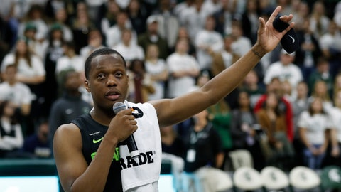 <p>               Michigan State guard Cassius Winston thanks the crowd for the support he and the Winston family have received after the death of his brother Zachary last week. Winston spoke after an NCAA college basketball game against Charleston Southern, Monday, Nov. 18, 2019, in East Lansing, Mich. (AP Photo/Carlos Osorio)             </p>