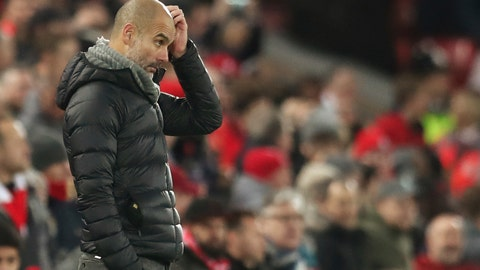 <p>               Manchester City's head coach Pep Guardiola gestures during the English Premier League soccer match between Liverpool and Manchester City at Anfield stadium in Liverpool, England, Sunday, Nov. 10, 2019. (AP Photo/Jon Super)             </p>
