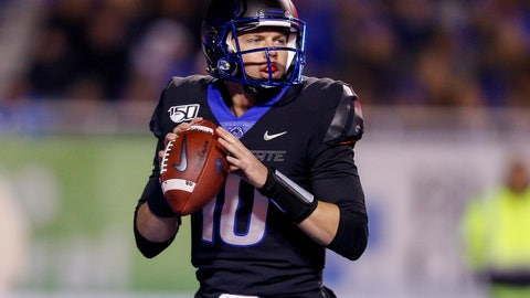 <p>               Boise State quarterback Chase Cord (10) looks for a receiver during the first half of the team's NCAA college football game against Wyoming on Saturday, Nov. 9, 2019, in Boise, Idaho. (AP Photo/Steve Conner)             </p>