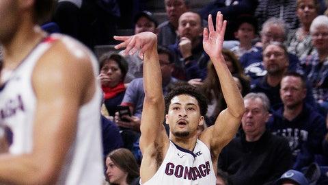 <p>               Gonzaga guard Ryan Woolridge (4) shoots during the first half of the team's NCAA college basketball game against Arkansas-Pine Bluff in Spokane, Wash., Saturday, Nov. 9, 2019. (AP Photo/Young Kwak)             </p>