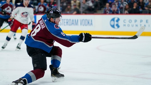 <p>               Colorado Avalanche defenseman Cale Makar (8) shoots a goal against the Columbus Blue Jackets during the second period of an NHL hockey game, Saturday, Nov. 9, 2019, in Denver. (AP Photo/Jack Dempsey)             </p>