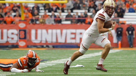 <p>               Boston College's Dennis Grosel, right, breaks away from Syracuse's Alton Robinson, left, during the first quarter of an NCAA college football game in Syracuse, N.Y., Saturday, Nov. 2, 2019. (AP Photo/Nick Lisi)             </p>