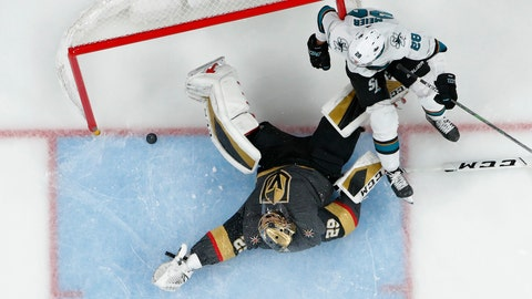 <p>               San Jose Sharks right wing Timo Meier (28) falls into the net after scoring against Vegas Golden Knights goaltender Marc-Andre Fleury (29) during the second period of an NHL hockey game Thursday, Nov. 21, 2019, in Las Vegas. (AP Photo/John Locher)             </p>