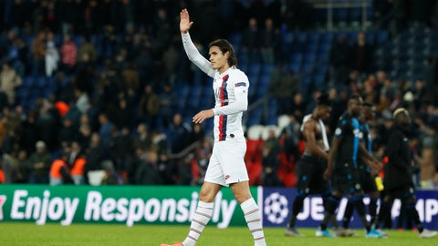 <p>               PSG's Edinson Cavani waves his supporters after the end of Champions League group A soccer match between Paris Saint Germain and Club Brugge, at the Parc des Princes stadium, in Paris, Wednesday, Nov. 6, 2019. (AP Photo/Thibault Camus)             </p>