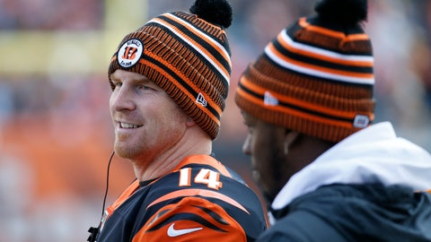 <p>               Cincinnati Bengals quarterback Andy Dalton (14) stands on the sidelines during the first half an NFL football game against the Pittsburgh Steelers, Sunday, Nov. 24, 2019, in Cincinnati. (AP Photo/Frank Victores)             </p>