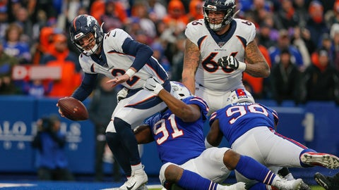 <p>               Buffalo Bills defensive tackle Ed Oliver (91) pulls down Denver Broncos quarterback Brandon Allen (2) into the end zone for a sack during the fourth quarter of an NFL football game, Sunday, Nov. 24, 2019, in Orchard Park, N.Y. (AP Photo/John Munson)             </p>