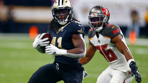 <p>               FILE - In this Oct. 6, 2019. file photo, New Orleans Saints running back Alvin Kamara (41) carries next to Tampa Bay Buccaneers cornerback M.J. Stewart (36) during the second half of an NFL football game in New Orleans. The versatile Kamara has been among New Orleans' most productive offensive players in both the running and passing games since 2017, when he was the NFL's offensive rookie of the year. In six games this season, he had 373 yards and one touchdown rushing along with 276 yards and one TD receiving. Kamara said he initially sought to come back from injury for New Orleans' Week 8 victory over Arizona, but changed his mind after visiting with team medical and training staff. (AP Photo/Butch Dill, File)             </p>