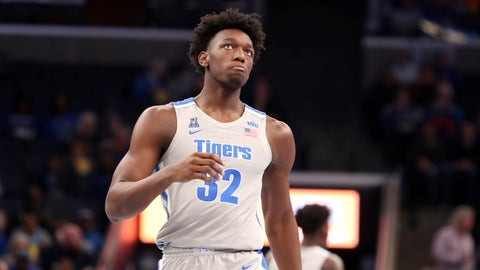 <p>               Memphis' James Wiseman comes down court during the first half of an NCAA college basketball game against Illinois-Chicago Friday, Nov. 8, 2019, in Memphis, Tenn. (AP Photo/Karen Pulfer Focht)             </p>
