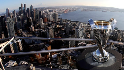 <p>               In this Nov. 5, 2019, photo, the MLS Cup trophy is displayed on the roof of the Space Needle with the downtown Seattle in the background. Seattle will host the MLS Cup soccer match Sunday, Nov. 10, 2019, as the Seattle Sounders face Toronto FC at CenturyLink Field. Ten years ago, the arrival of the Sounders changed expectations for what an MLS soccer expansion team should look like, and now the soccer-mad city gets a chance to shine hosting the league's championship game for the second time, but the first with the home team playing. (AP Photo/Ted S. Warren)             </p>